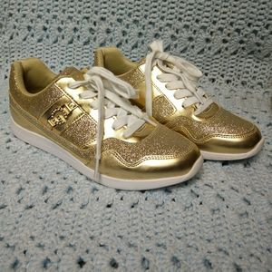 G by Guess sparkly gold fashion sneakers